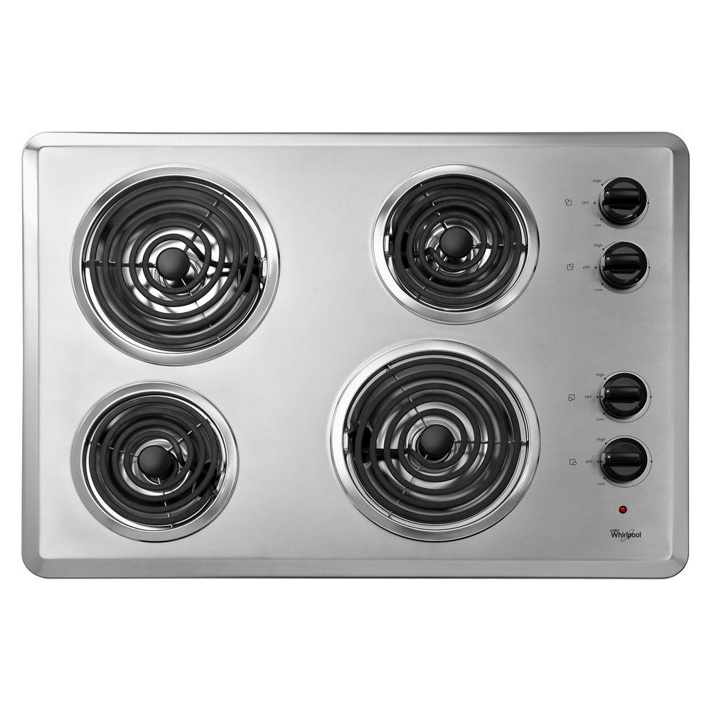 Whirlpool Countertop Stove Whirlpool 30 In Coil Electric Cooktop In White With 4 Elements