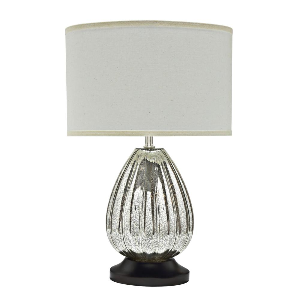 Glass Crackle Lamp Aspen Creative Corporation 23 In Antique Crackle Mercury Glass Table Lamp With Oval Shaped Lamp Shade In Off White