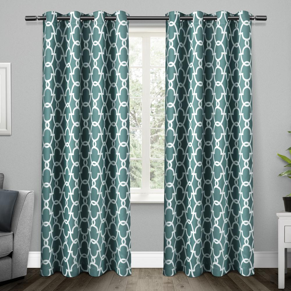 Teal Blackout Curtains Gates 52 In W X 96 In L Woven Blackout Grommet Top Curtain Panel In Teal 2 Panels