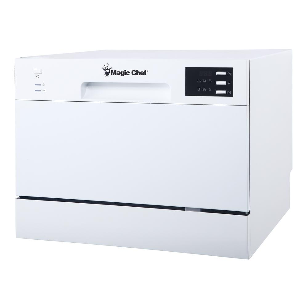 Magic Chef Countertop Portable Dishwasher In White With 6 Place Settings Capacity Mcscd6w5 The Home Depot