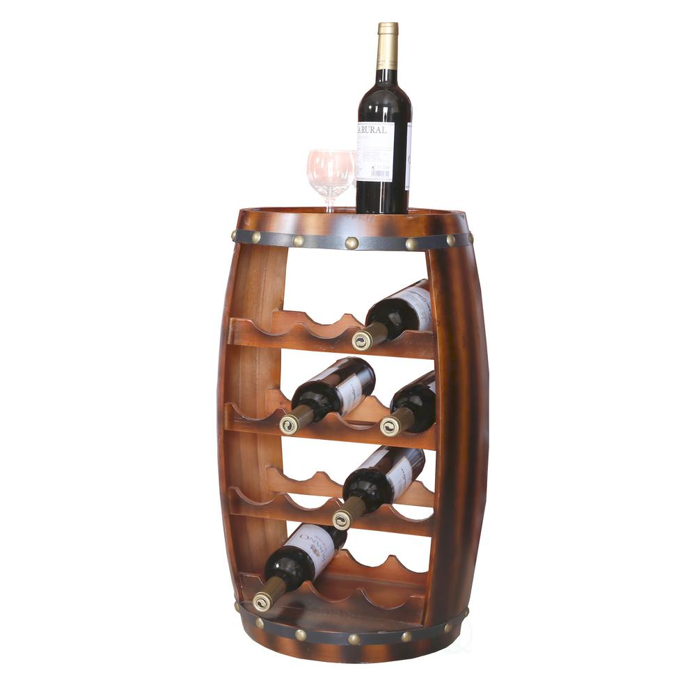 Wooden Bottle Rack Vintiquewise Wooden Barrel Shaped 14 Bottle Wine Rack Qi003283