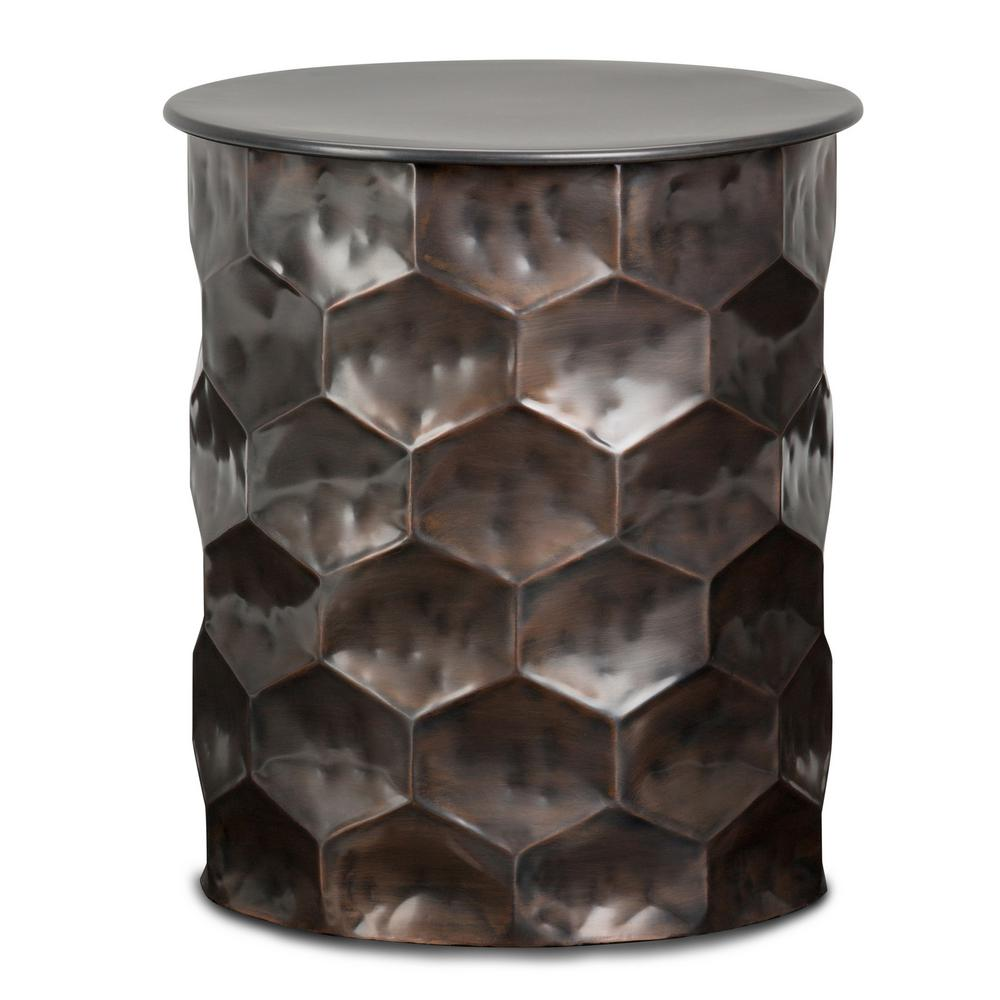 Coffee And End Tables With Storage Simpli Home Whitney Contemporary Round 17 In Wide Metal Storage Accent Side Table In Antique Bronze