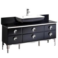 Fresca Moselle 59 in. Bath Vanity in Black with Tempered ...