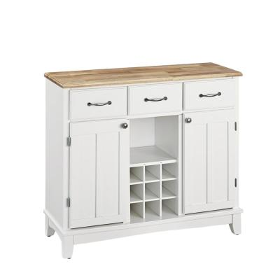 Home Styles White and Natural Buffet with Wine Storage-5100-0021 - The Home Depot