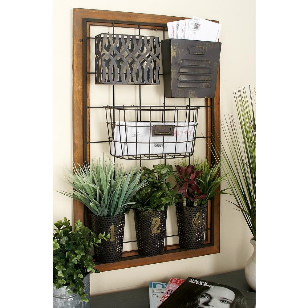 Wall Grid 20 In X 4 In Wall Mount Storage With Wire Grid And 6 Various Metal Wire And Cutout Baskets And Bins