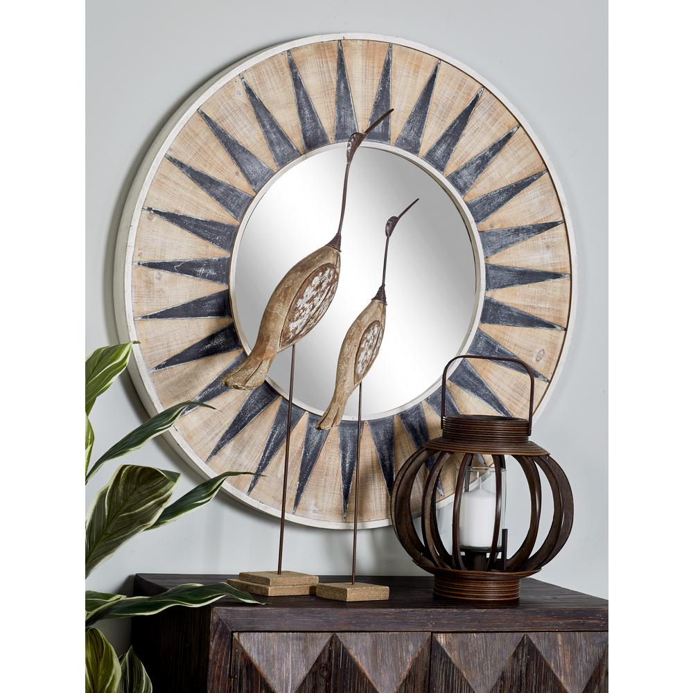 Decorative Mirror Litton Lane Sun Inspired Round White Accent Decorative Mirror