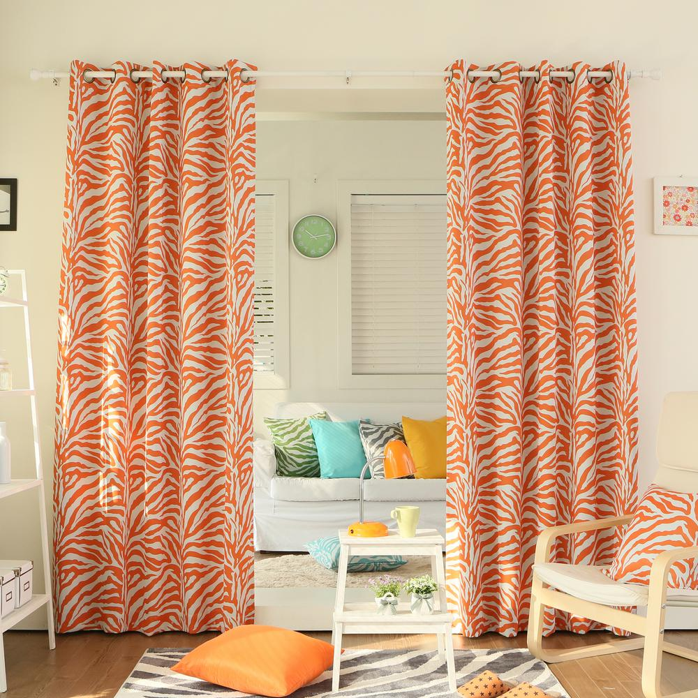 Orange Curtain Panels Best Home Fashion 84 In L Orange Zebra Room Darkening Curtain Panel 2 Pack