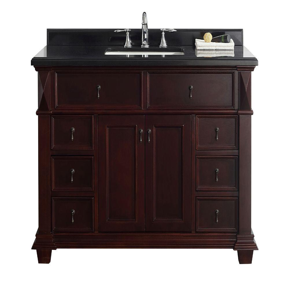 Belle Foret Farmhouse Sink Belle Foret Kathy 48 In W X 22 In D Vanity In Chocolate With Granite Vanity Top In Black With White Basin