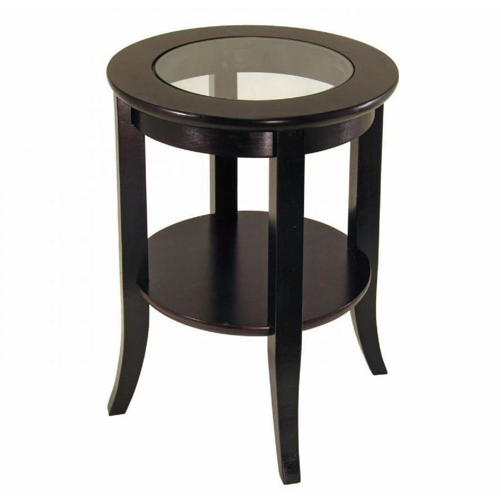 Small Round Glass End Table Homecraft Furniture Genoa Espresso End Table Mh301 The Home Depot