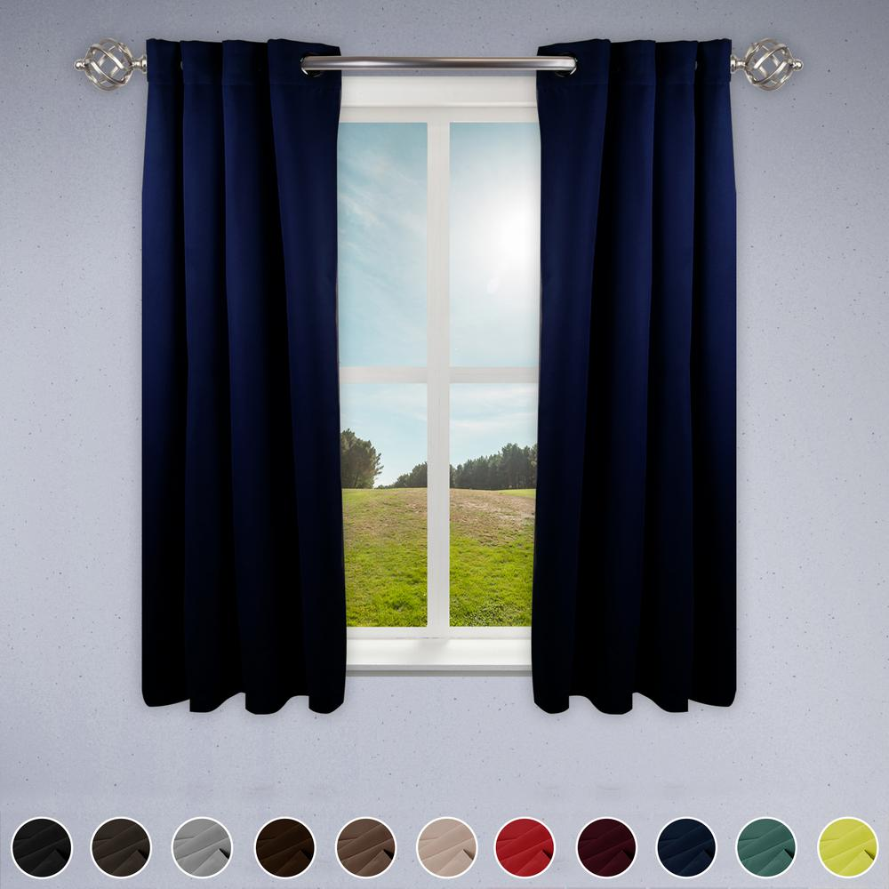 Dark Blue And Grey Curtains Rod Desyne Heavy Duty Drapery 52 In W X 63 In H Panel In Dark Blue