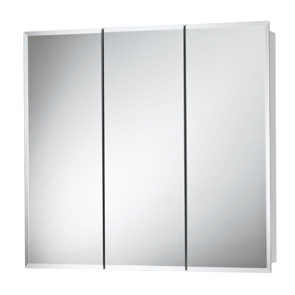 Medicine Cabinet Mirrors Horizon 30 In W X 28 In H X 5 25 In D Frameless Surface Mount Bathroom Medicine Cabinet With 1 2 In Beveled Mirror