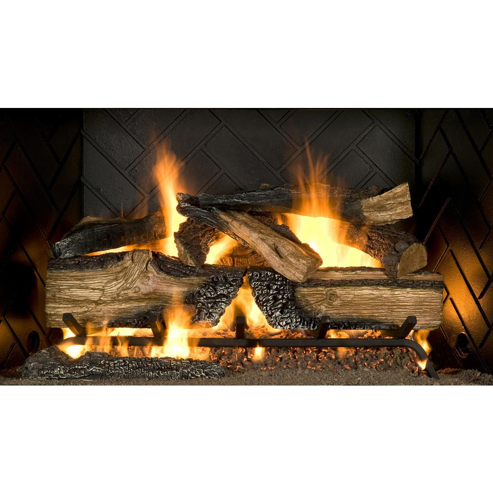 Gas Log Starters For Fireplace Emberglow Country Split Oak 30 In Vented Natural Gas Fireplace Logs