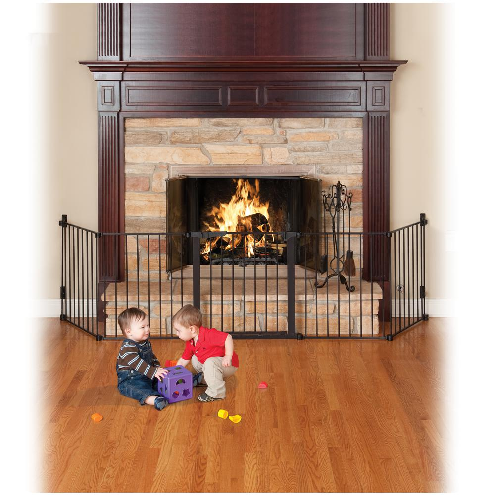 Fireplace Safety Screen Child Guard Kidco 29 5 In H Custom Fit Gate Auto Close Hearth Gate In Black
