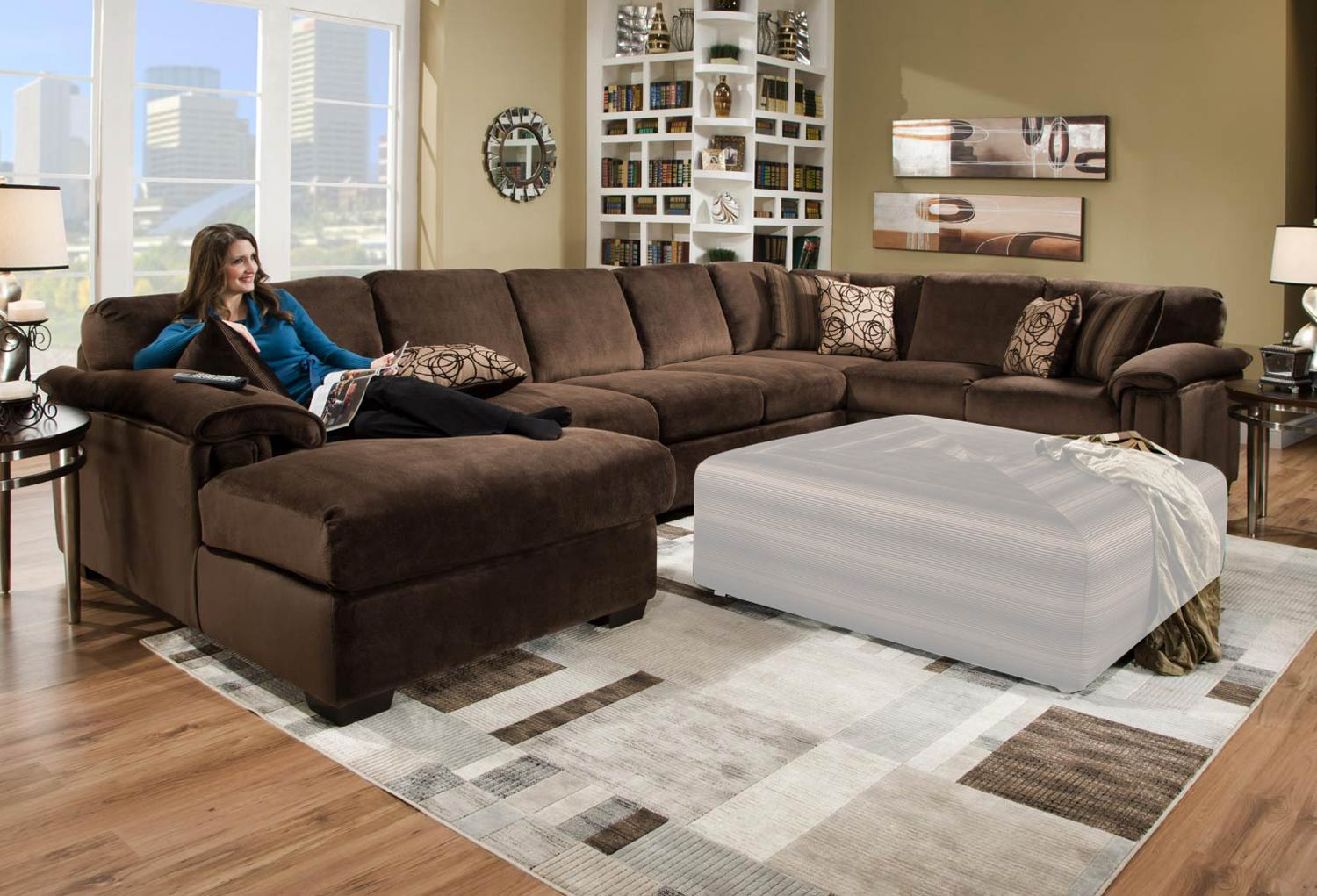 Dahlia 3 Seat Leather Sofa Chelsea Home Dahlia 3 Piece Sectional Sofa With Sleeper Rhino Beluga