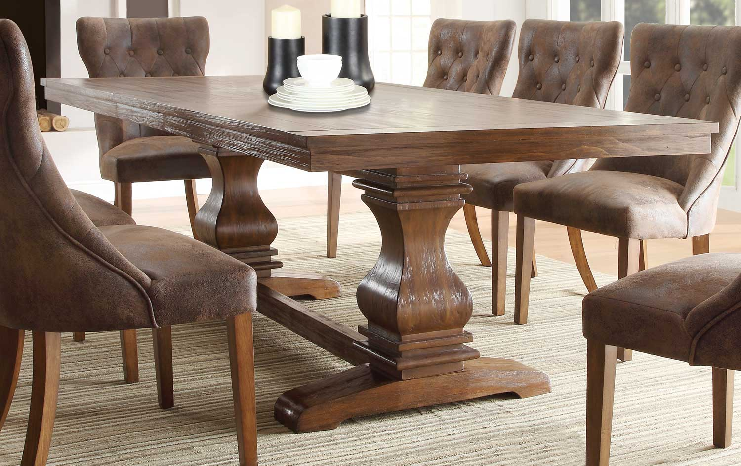 Dining Room Furniture Rustic Homelegance Marie Louise Dining Table Rustic Oak Brown