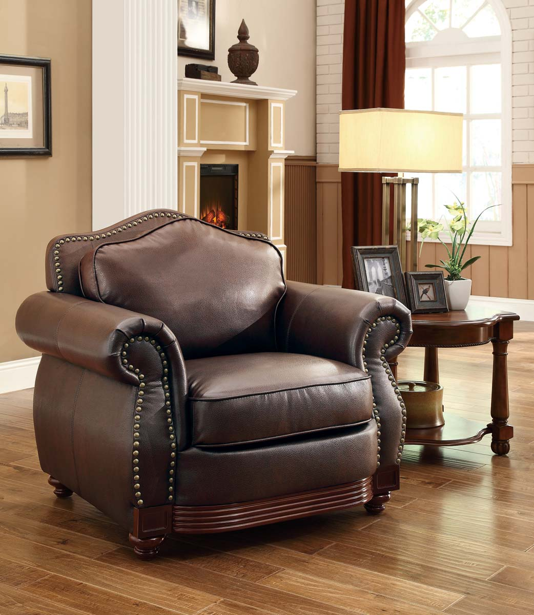 Accent Chairs To Go With Brown Leather Sofa Homelegance Midwood Bonded Leather Chair Dark Brown