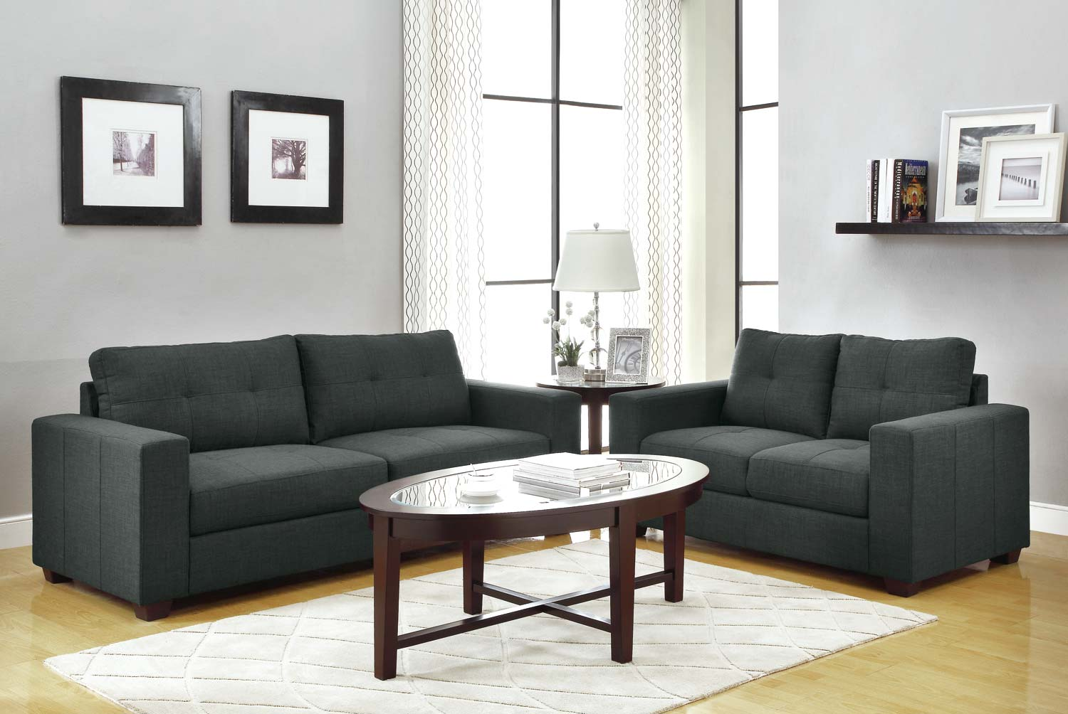 Sofa Sets In Living Room Homelegance Ashmont Sofa Set Dark Grey Linen