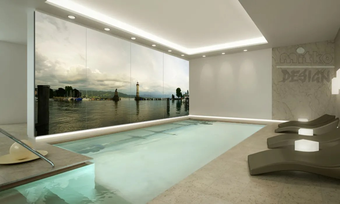 Glasbild Beleuchtet Glasbild Am Innen Pool Mitko Glas Design Moderne Pools Glas | Homify