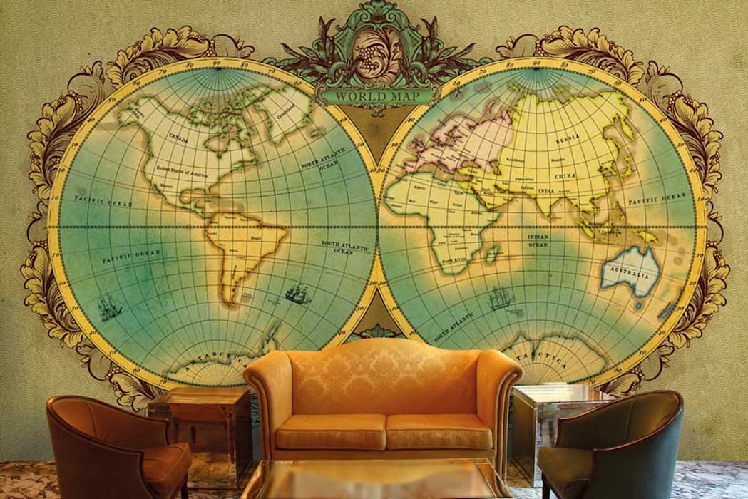 World map wallpaper designs for office wall decor and custom wall