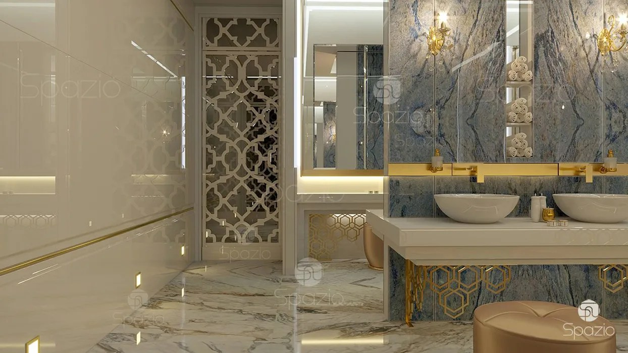 Luxury Master Bathroom Design Project In Modern Home In Dubai Modern Bathroom By Spazio Interior Decoration Llc Modern Marble Homify