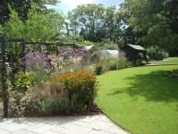 Long, narrow, contemporary garden design, Woking, Surrey ...