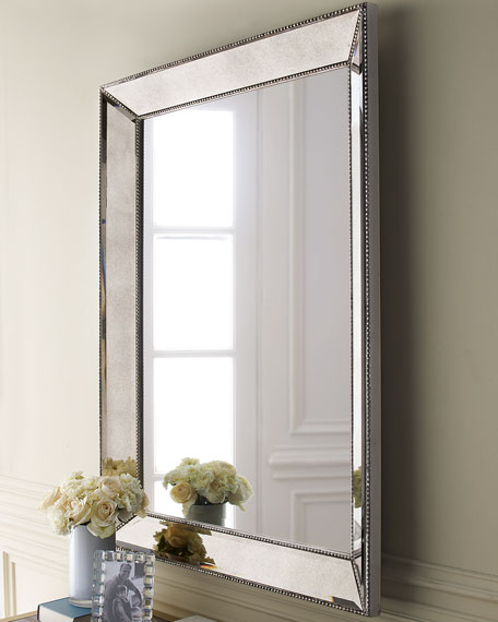 Beveled Mirror Wood Frame Beaded Wall Mirror 36 5 W