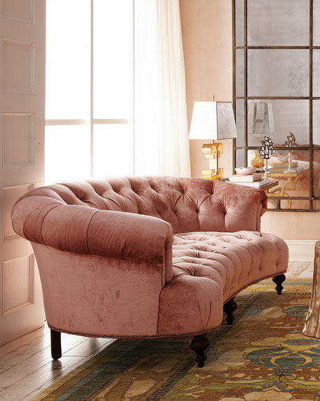 Couch Chesterfield Old Hickory Tannery Brussel Blush Tufted Sofa