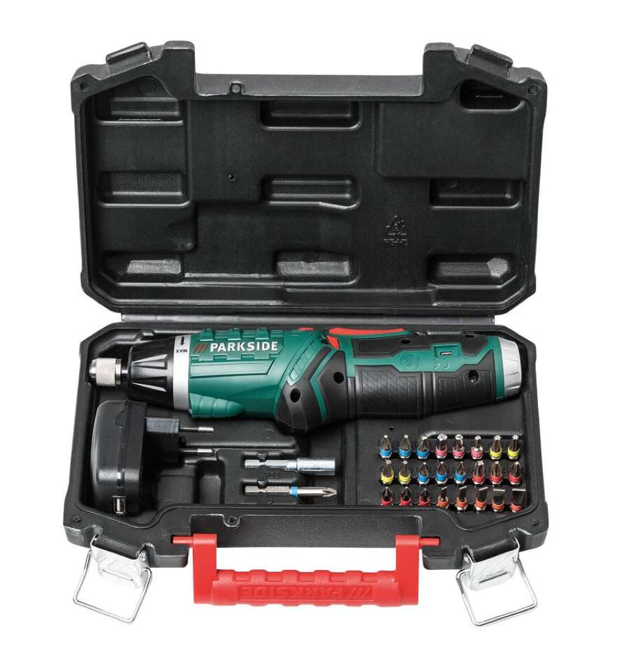 Bosch Accuschroevendraaier Parkside 4v Cordless Screwdriver Bits Case 60 Minute Charger