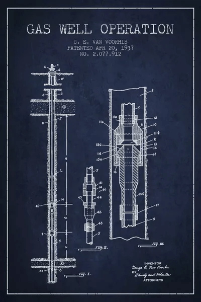 Gas Well Operation Navy Blue Patent Blueprint Can Aged Pixel