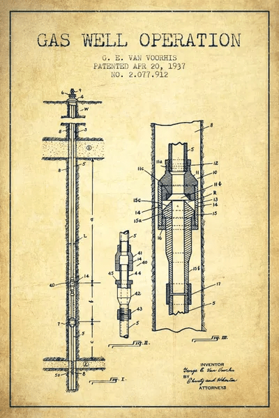 Gas Well Operation Vintage Patent Blueprint Canva Aged Pixel