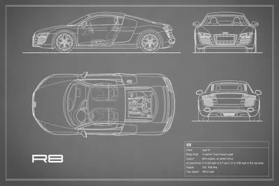 Audi R8 V10 Coupe (Grey) Art Print by Mark Rogan iCanvas - best of blueprint drawings of audi r8