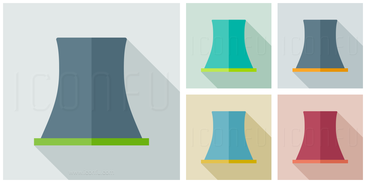 Cooling Tower Icon Long Shadow Style Iconfu
