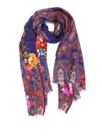 Floral silk wool scarf by Etro - scarves   iKRIX