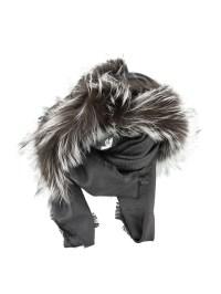 Fox fur detailed wool silk shawl by Fendi - Stoles ...