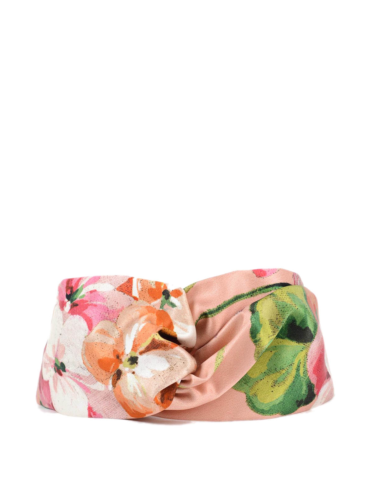 Bloom Accessoires Gucci Silk Headband With Blooms Print Hair Accessories