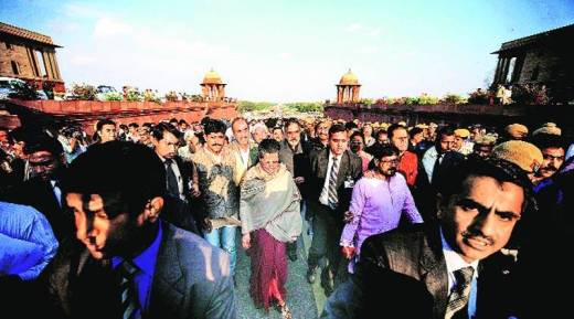March 2015. Sonia leads march to Parliament against land bill. (Express Photo by:  Praveen Khanna)