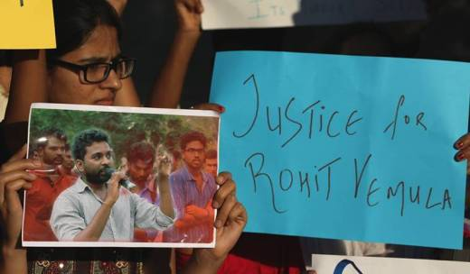 Activists of Vidyarthi Bharti stage a protest at Azad Maidan, Mumbai against the HRD Ministry over the suicide of PhD scholar Rohith Vemula. Express Photo by Prashant Nadkar