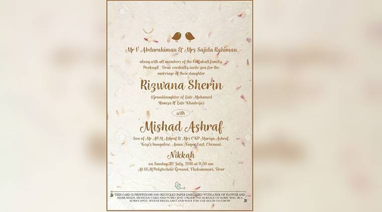 This Kerala MLA\u0027s daughter\u0027s wedding reception card is special for a