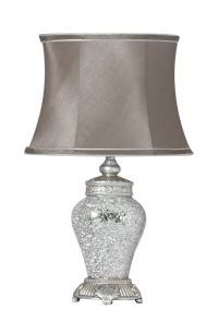 46cm Silver Mosaic Table Bedside Lamp Light w Taupe Shade ...