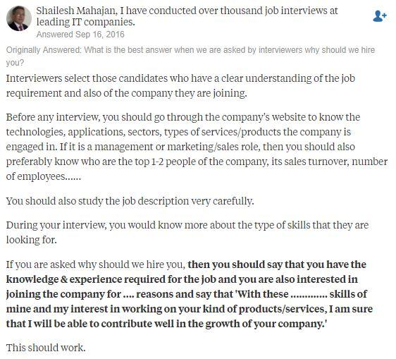 How to answer the dreaded question \u0027Why should we hire you\u0027 - why should i hire you
