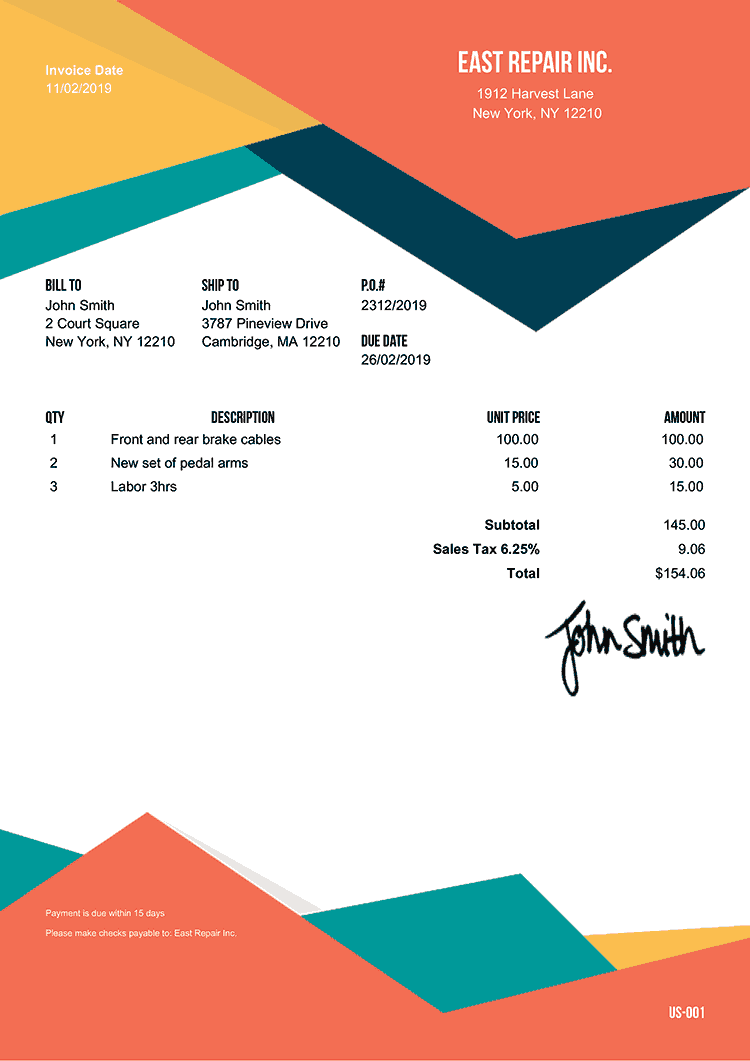 custom receipt template