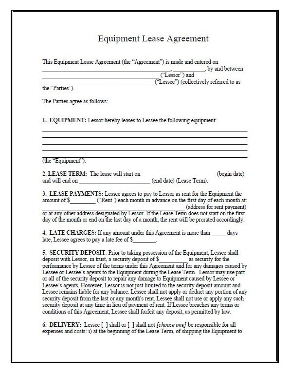 Equipment Finance Agreement Form – Equipment Lease Form