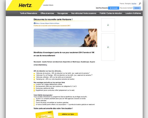 La page Carte Horizon Hertz : preuve d'une publicité mensongère
