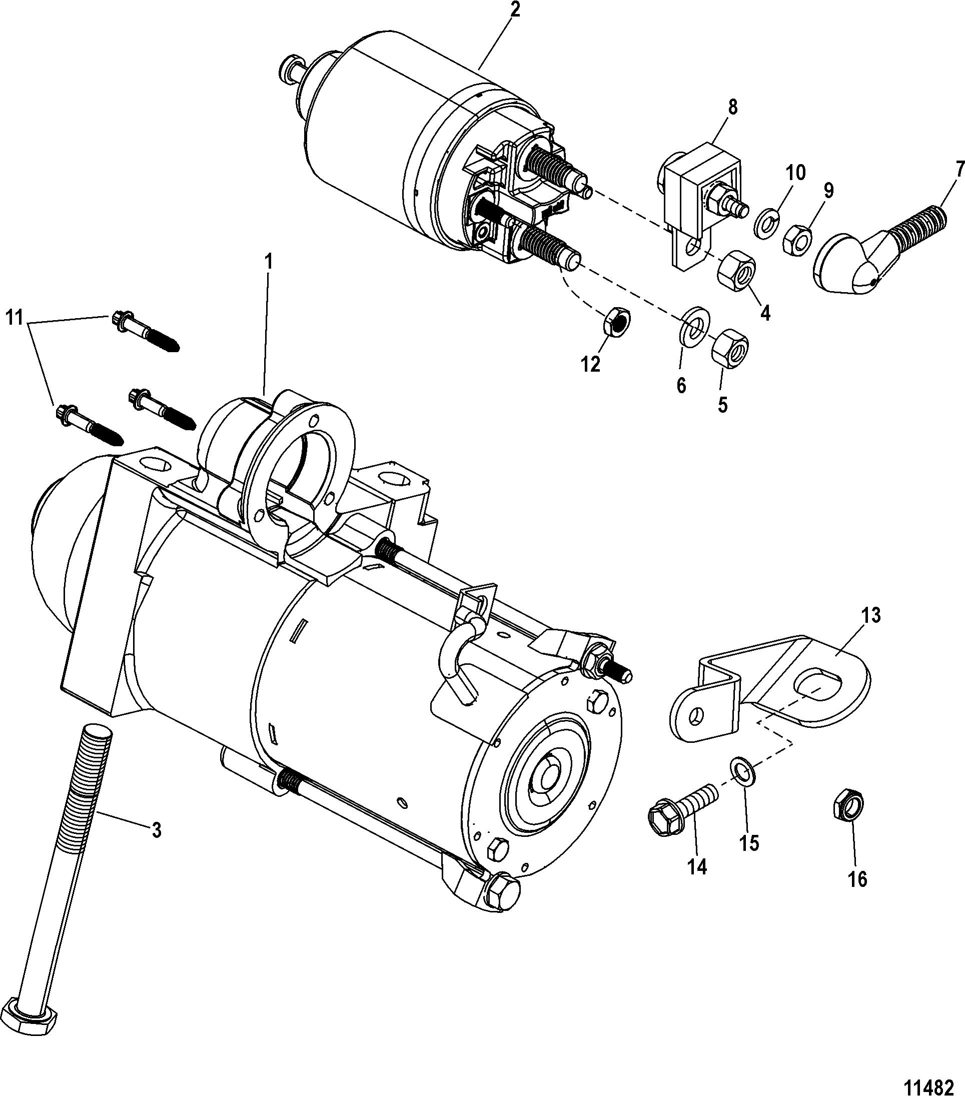 mercruiser 3 0l gm 181 i l4 starter motor parts