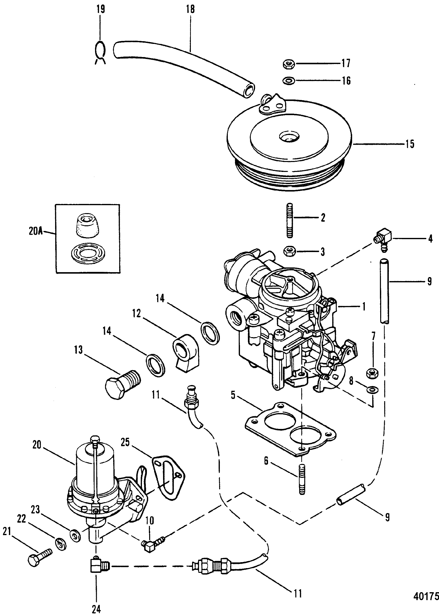 diagram of 1983 mercruiser 04707343 carburetor and fuel pump diagram