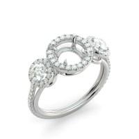 Round 3 Stone Halo Semi Mount Diamond Engagement Ring