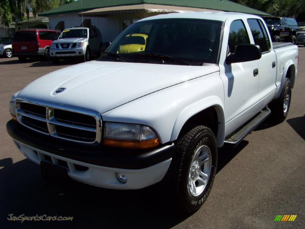 4x4 Sports Cars 2004 Dodge Dakota Sport Quad Cab 4x4 In Bright White Photo