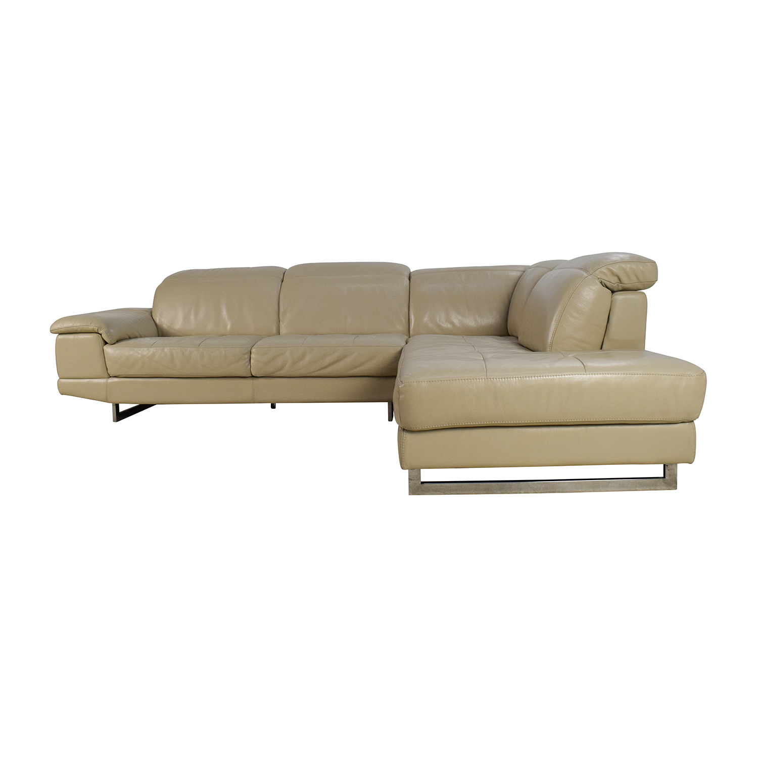 Sofa Grau Online 83 Off Beige Italian Leather Couch With Adjustable Headrests Sofas