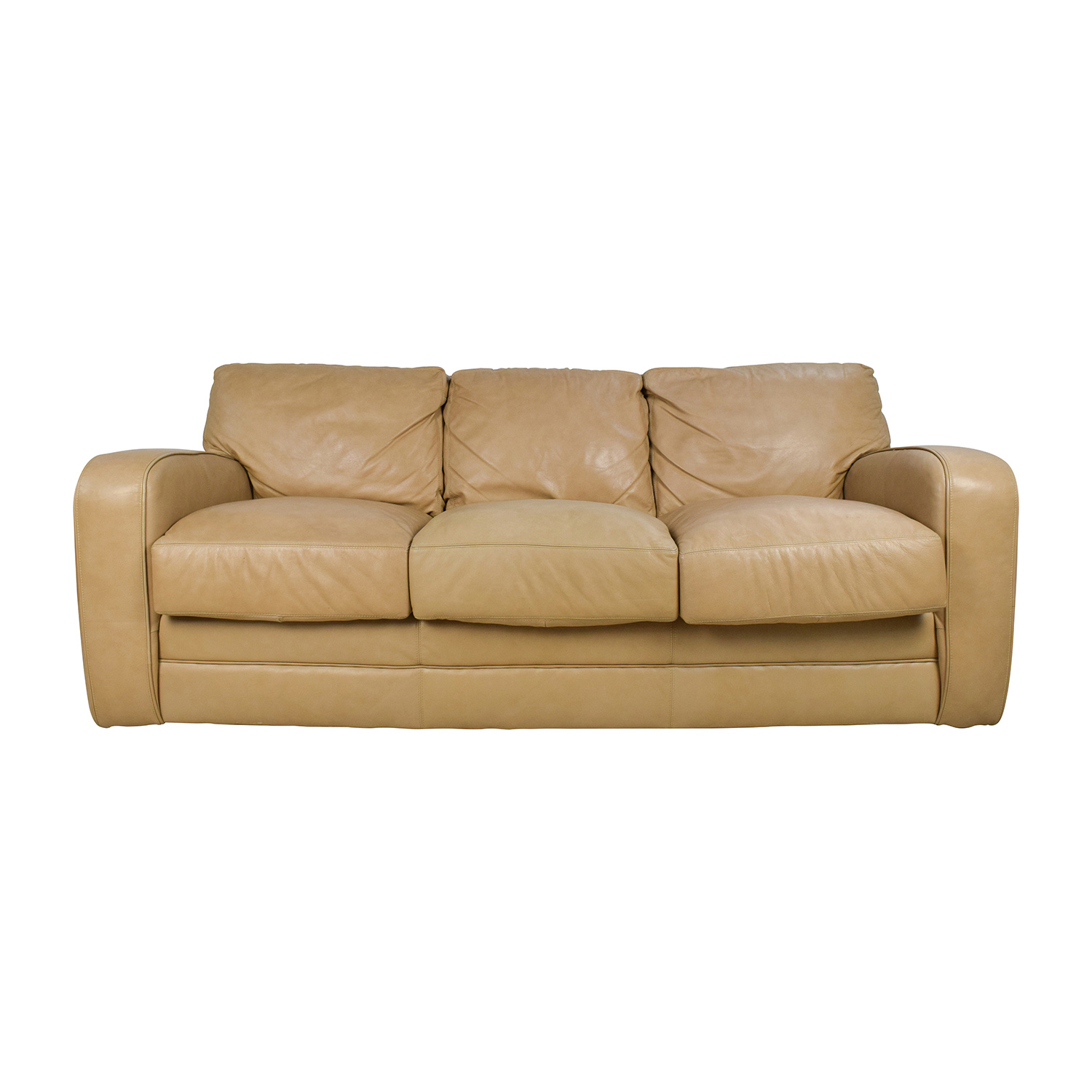 Beige Ledercouch 78% Off - Beige Three Seat Leather Sofa / Sofas