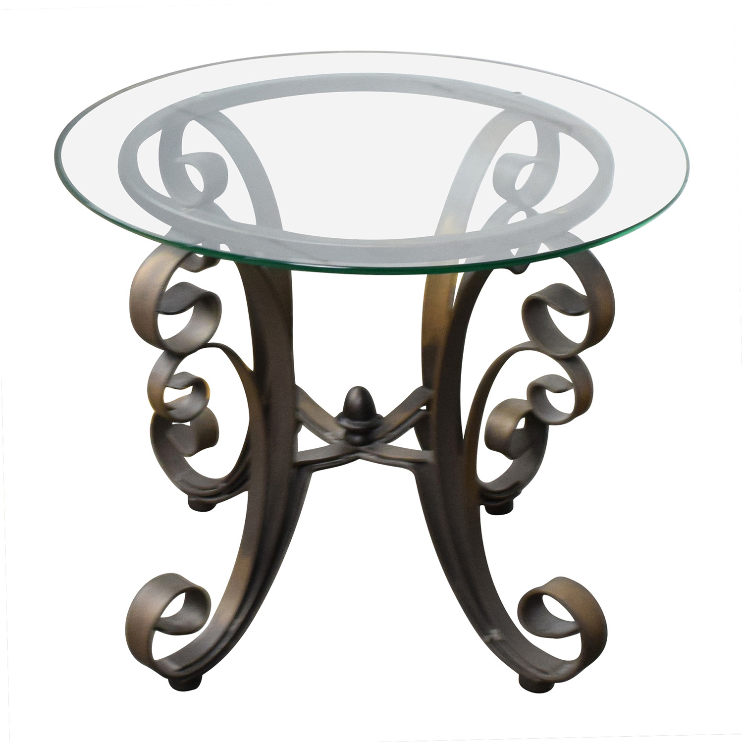 Metal Glass End Tables 90 Off Rooms To Go Rooms To Go Bronze Metal Base With Glass Top Side Table Tables